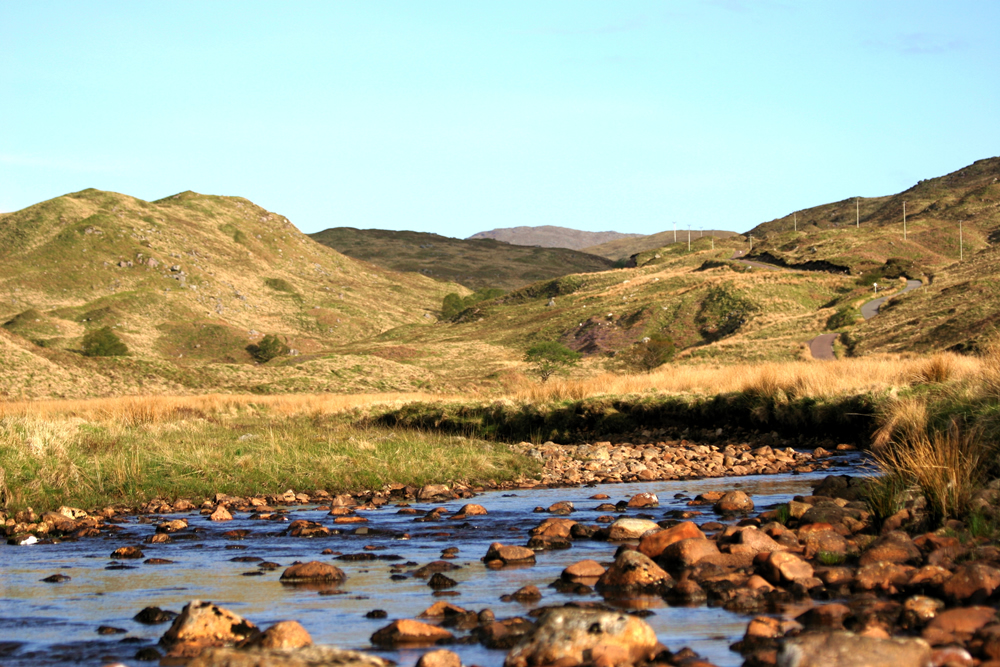 Early morning sunlight Strontian Ardnamurchan Scotland